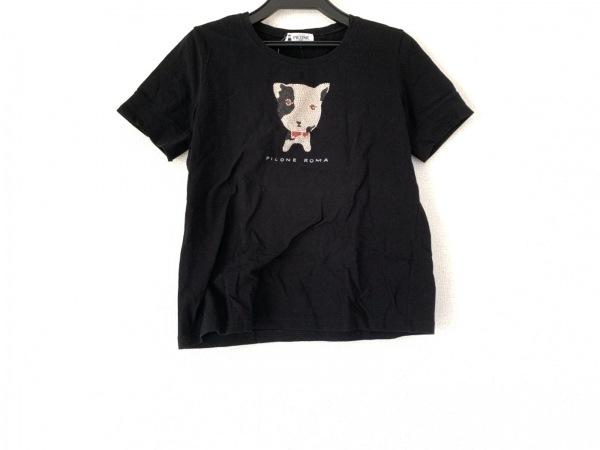 PICONE(ピッコーネ) 半袖Tシャツ サイズ40 M レディース 黒×マルチ ラインストーン
