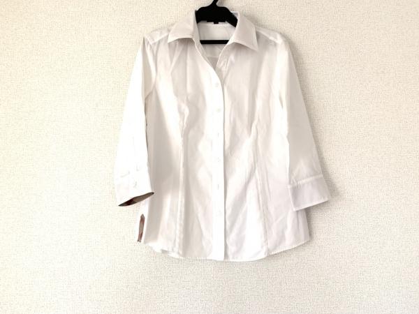 バーバリーロンドン 七分袖シャツブラウス サイズ40 L レディース 白×マルチ