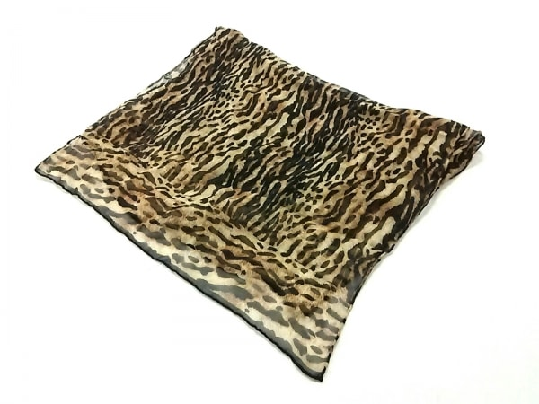 Leilian(レリアン) マフラー美品  ブラウン×黒×マルチ 豹柄 シルク