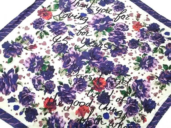 Leilian(レリアン) スカーフ パープル×マルチ シルク/花柄