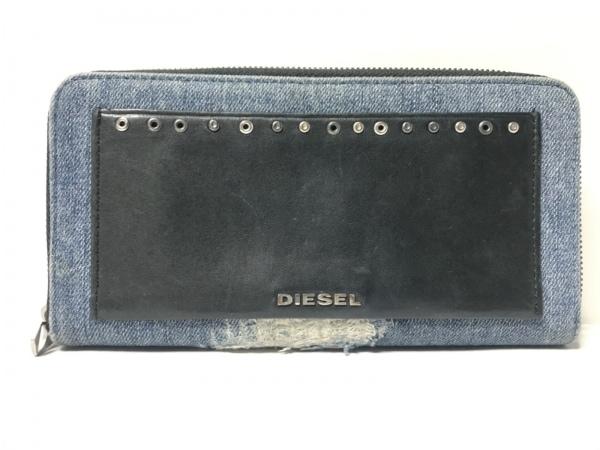 ディーゼル 長財布 - - ブルー×黒 ラウンドファスナー/ダメージ加工/スタッズ