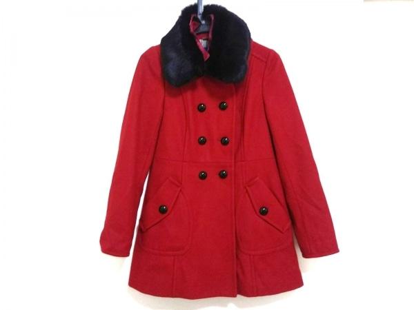 バーバリーブルーレーベル コート サイズ38 M レディース美品  レッド ファー/冬物