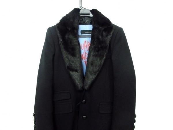 DSQUARED2(ディースクエアード) コート メンズ 黒 ファー/レザー/冬物/ダメージ加工