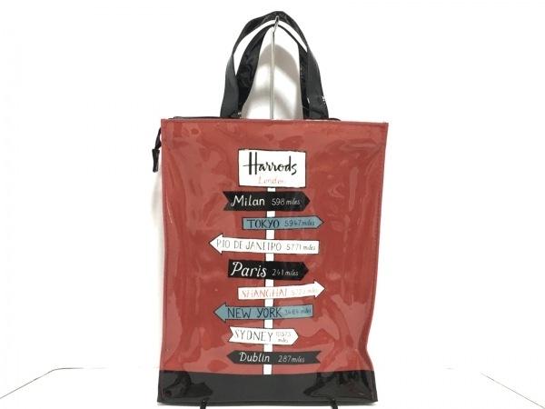 HARRODS(ハロッズ) ハンドバッグ美品  レッド×黒×マルチ ナイロン
