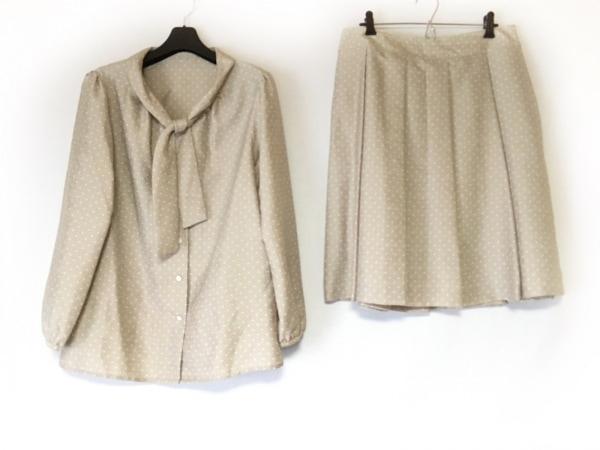 ニューヨーカー スカートスーツ サイズ13 L レディース グレー×白 ドット柄/プリーツ