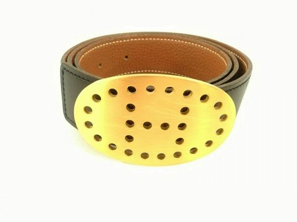 HERMES(エルメス) ベルト美品  エブリン 黒×ゴールド リバーシブル/ゴールド金具