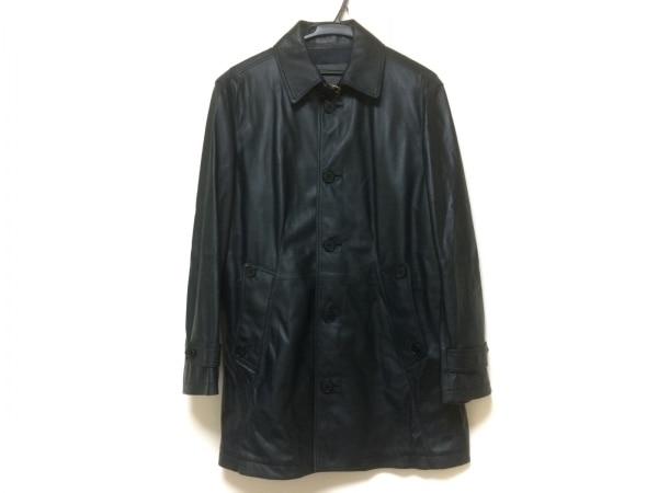 ロエベ コート サイズ50 XL メンズ美品  ネイビー レザー/春・秋物 1