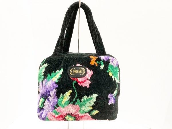 FEILER(フェイラー) ハンドバッグ 黒×ピンク×マルチ 花柄 パイル
