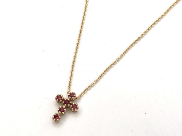 STAR JEWELRY(スタージュエリー) ネックレス美品  K18YG×ルビー 0.04カラット/クロス