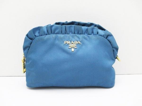 PRADA(プラダ) ポーチ - ブルー フリル ナイロン