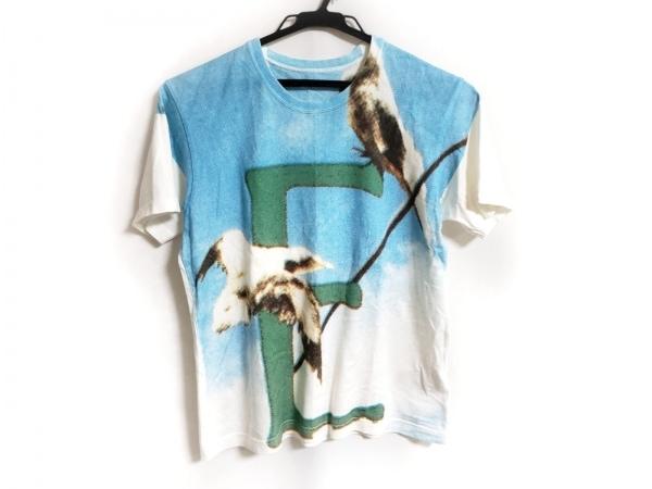 イッセイミヤケ 半袖Tシャツ サイズM レディース 白×ライトブルー×マルチ
