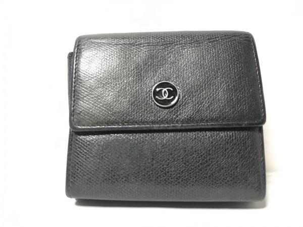 CHANEL(シャネル) 3つ折り財布 ココボタン - 黒 3つ折り/ブティックシールあり レザー