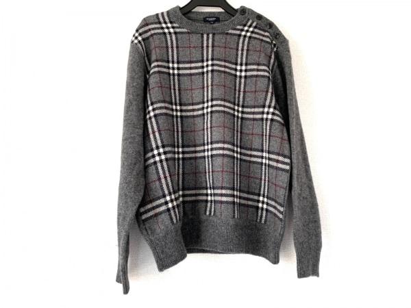 バーバリーロンドン 長袖セーター サイズM メンズ グレー×アイボリー×マルチ