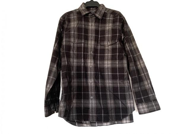 バーバリーロンドン 長袖シャツ サイズM メンズ 黒×ダークグレー チェック柄
