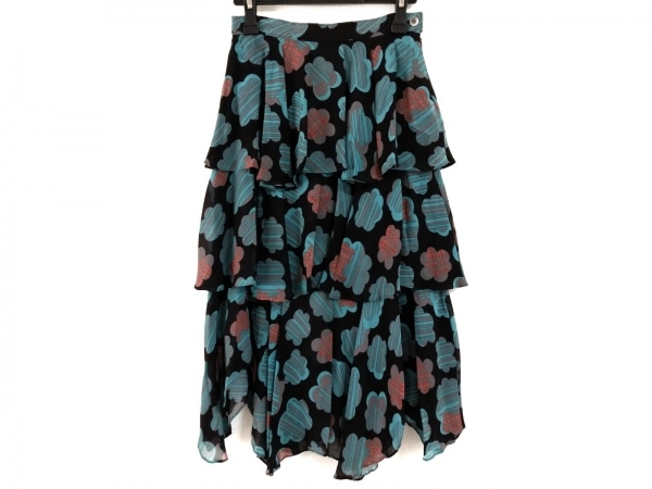 マチコジント ロングスカート サイズ8 M レディース美品  黒×グリーン×マルチ
