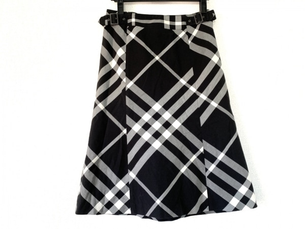 バーバリーロンドン スカート サイズ38 L レディース美品  黒×ライトグレー×白