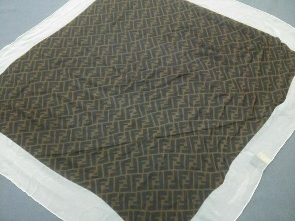 FENDI(フェンディ) スカーフ美品  ズッカ柄 ブラウン×黒×アイボリー