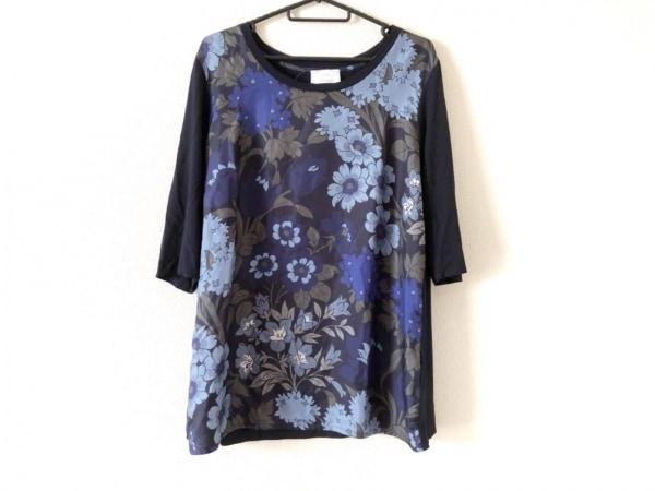マリナリナルディ チュニック サイズS レディース 黒×ブルー×マルチ 花柄