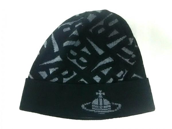 ヴィヴィアンウエストウッドアクセサリーズ ニット帽美品  黒×グレー