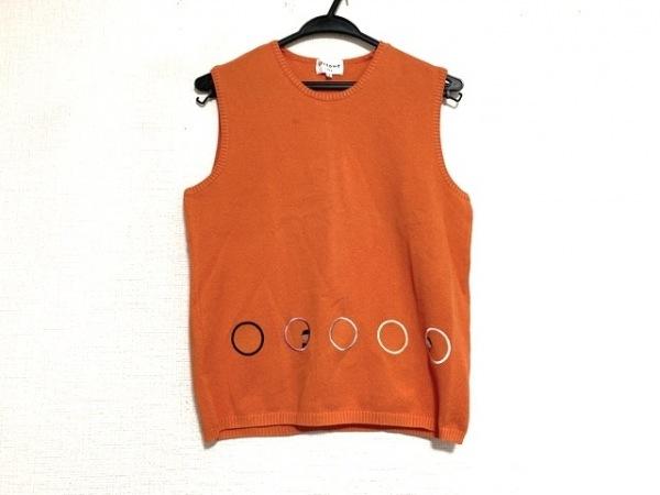 ピッコーネ ノースリーブセーター サイズ1 S レディース美品  オレンジ×マルチ 刺繍