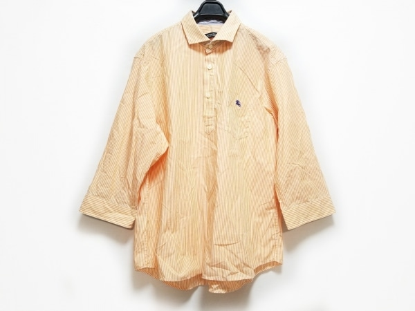 バーバリーブラックレーベル 七分袖シャツ サイズ4 XL メンズ オレンジ×白