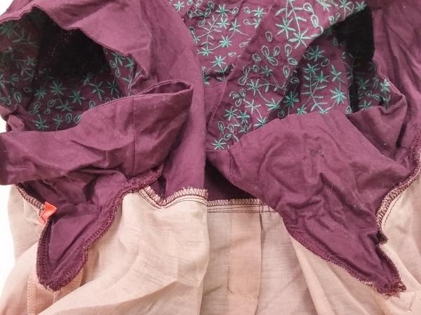 ホコモモラ ワンピース サイズ42 L レディース ボルドー×グリーン 刺繍/花柄