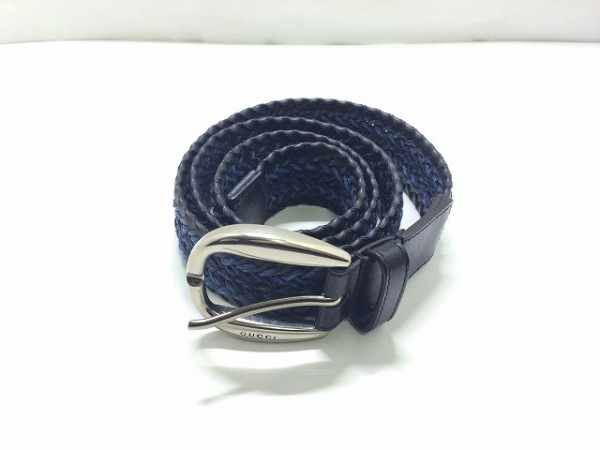 GUCCI(グッチ) ベルト 黒×ブルー×ネイビー 編み込み レザー×化学繊維