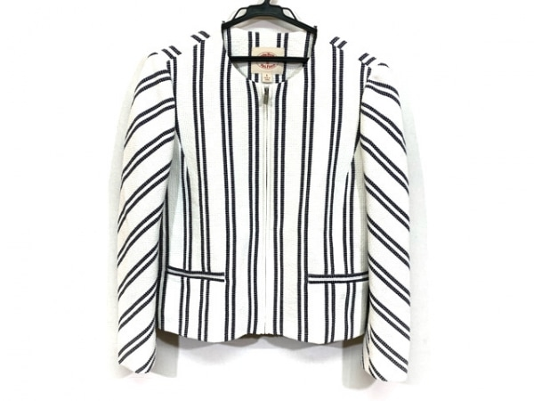 ブルックスブラザーズ ジャケット サイズ6 M レディース美品  白×ネイビー