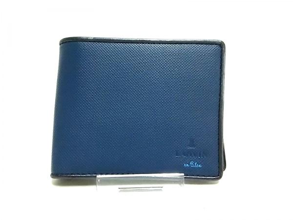 LANVIN en Bleu(ランバンオンブルー) 2つ折り財布美品  ネイビー×黒 レザー
