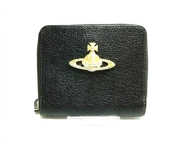 ヴィヴィアンウエストウッド 2つ折り財布新品同様  黒×ゴールド ラウンドファスナー