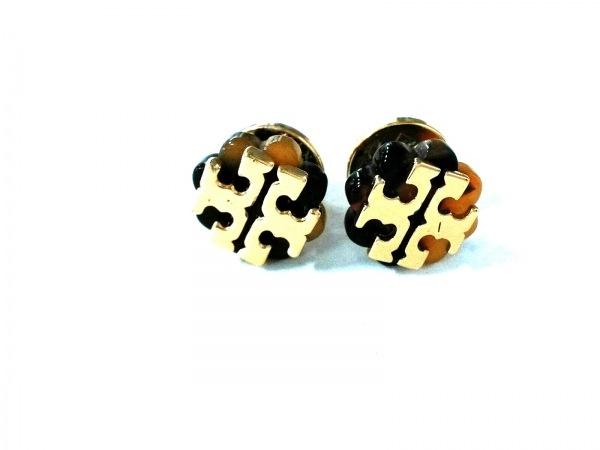 トリーバーチ ピアス美品  金属素材×プラスチック ゴールド×黒×ブラウン