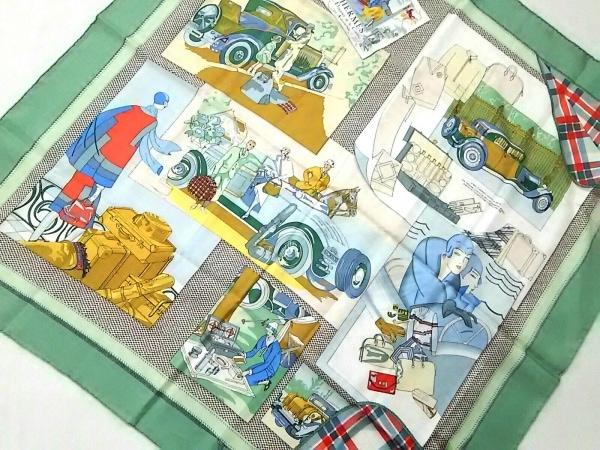 HERMES(エルメス) スカーフ美品  カレ ライトグリーン×マルチ