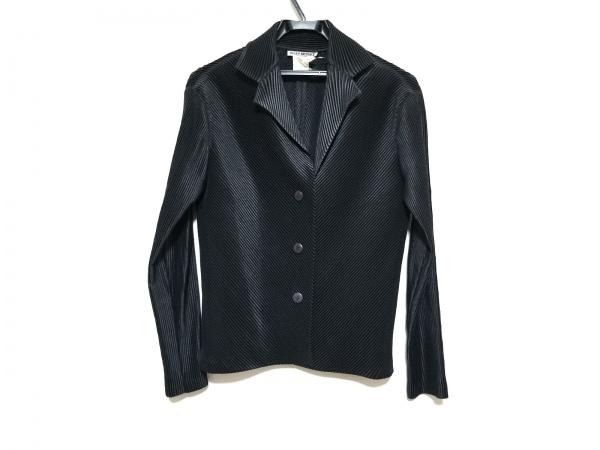 イッセイミヤケ ジャケット サイズ2 M レディース美品  黒 バイアスプリーツ
