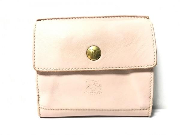 IL BISONTE(イルビゾンテ) Wホック財布 ピンク レザー
