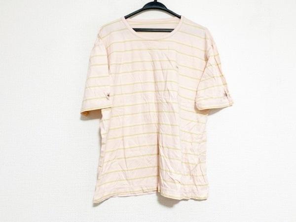 パパス 半袖Tシャツ サイズ50L メンズ美品  ピンク×ライトグリーン×マルチ ボーダー