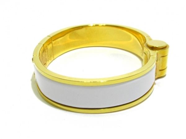 HERMES(エルメス) バングル シャル二エール 金属素材 白×ゴールド 2