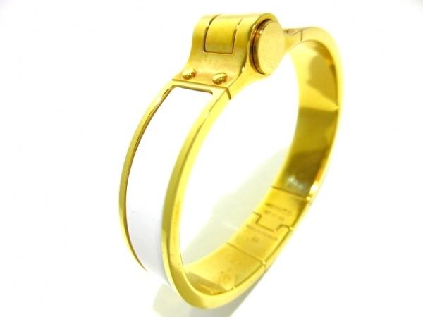 HERMES(エルメス) バングル シャル二エール 金属素材 白×ゴールド 7