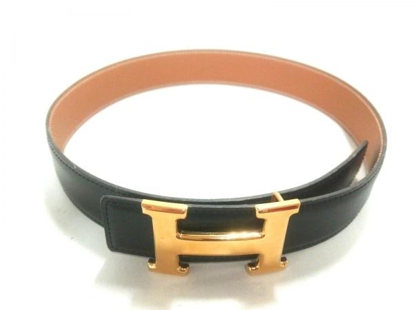 HERMES(エルメス) ベルト 60 Hベルト 黒×ゴールド リバーシブル/ゴールド金具/新型