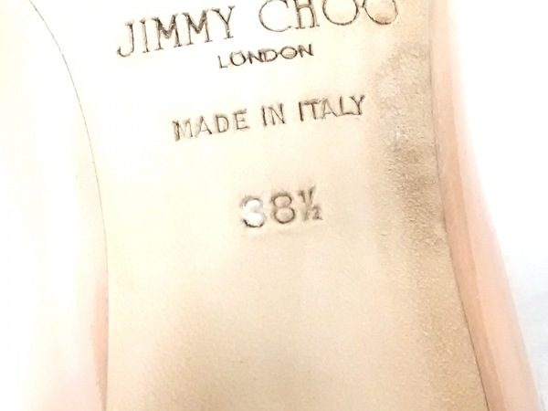 JIMMY CHOO(ジミーチュウ) パンプス 38 1/2 レディース ベージュ アウトソール張替済