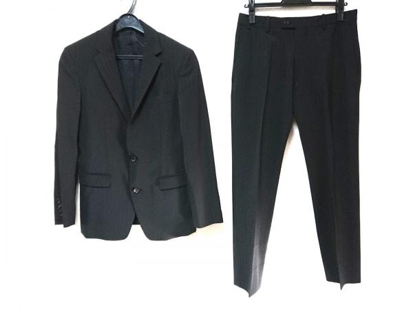 COMME CA MEN(コムサメン) シングルスーツ サイズ44 L メンズ 黒 ストライプ/2パンツ