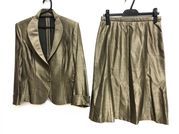 レリアン スカートスーツ サイズ11 M レディース美品  ライトブラウン×マルチ
