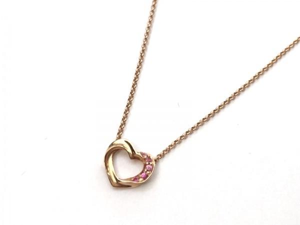 スタージュエリー ネックレス美品  K18PG×ラインストーン ピンク ハート