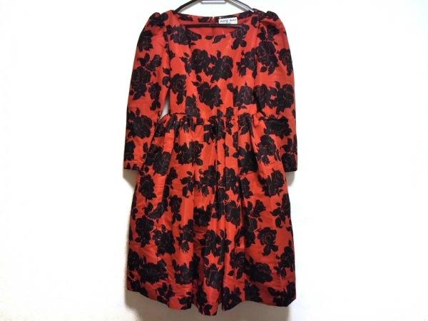 HANAE MORI(ハナエモリ) ドレス サイズ9A3 レディース美品  レッド×黒 花柄