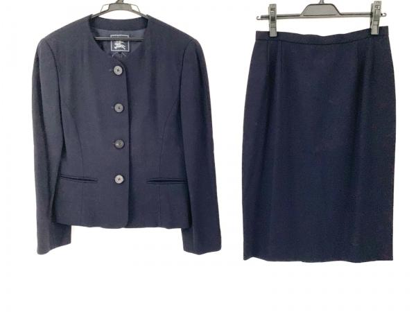 バーバリーズ スカートスーツ サイズ11 M レディース美品  ダークネイビー 肩パッド
