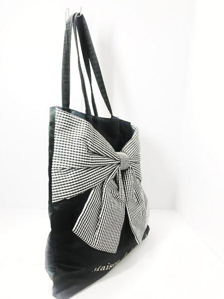 メゾンドフルール トートバッグ美品  黒×白 リボン ポリエステル×コットン