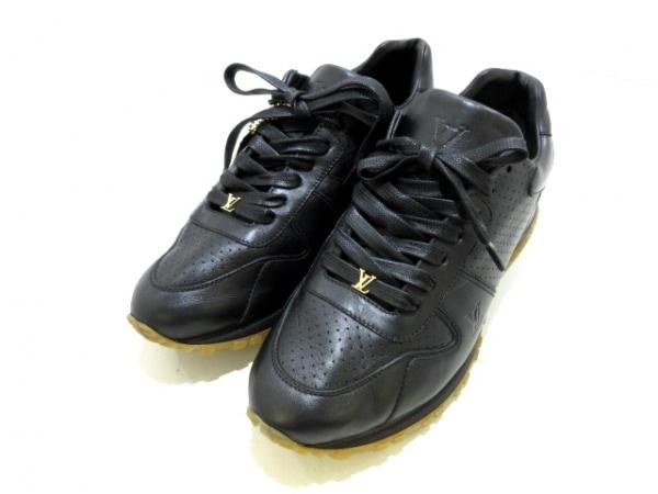 ルイヴィトン スニーカー 6 メンズ美品  ランアウェイ - 黒 ×Supreme レザー