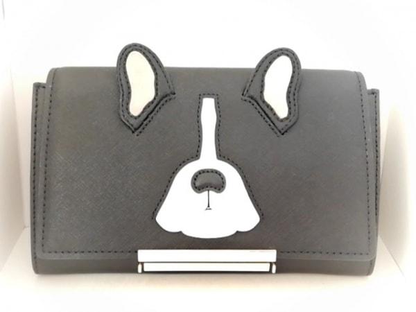 ケイトスペード 財布美品  メイク イット マイン カミラ PXRU8282 黒×白×グレー