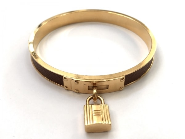 エルメス バングル美品  ケリーバングル 金属素材×レザー ゴールド×ブラウン
