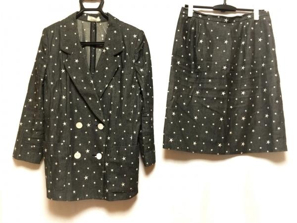 Leilian(レリアン) スカートスーツ レディース ダークグレー×白 刺繍/肩パッド/星柄