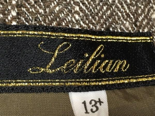 レリアン スカートスーツ サイズ13 L レディース ダークブラウン×白 肩パッド